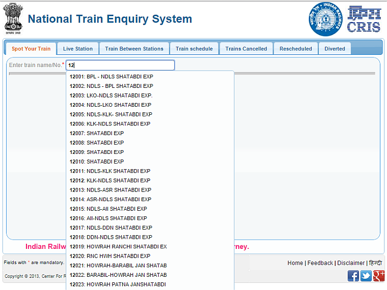 Indian Railways train tracking Step 1 Train Name