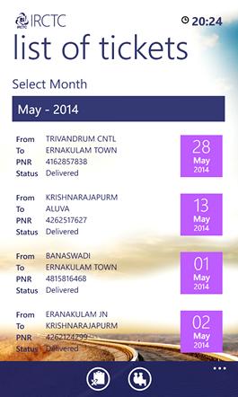 IRCTC List of Tickets