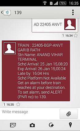 SMS train arrival status India train
